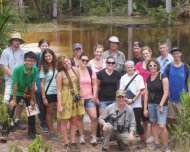 University of Texas students wit their professor Dr. Doughty in the Amazon with Andrew Whittaker. Photo Marconi Campos.