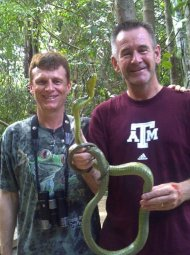 Andy with the wildlife producer Nigel Marven in the Amazon.