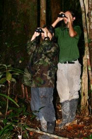 Shizuka Hashimoto and Jaque birding with Andy in Amazonian Brazil.