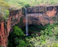 Véu de Noiva waterfall in Chapada dos Guimarães National Park.